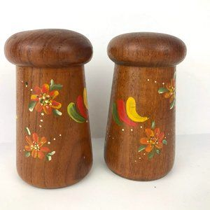 Vintage Hand Painted Wood Salt & Pepper Shakers